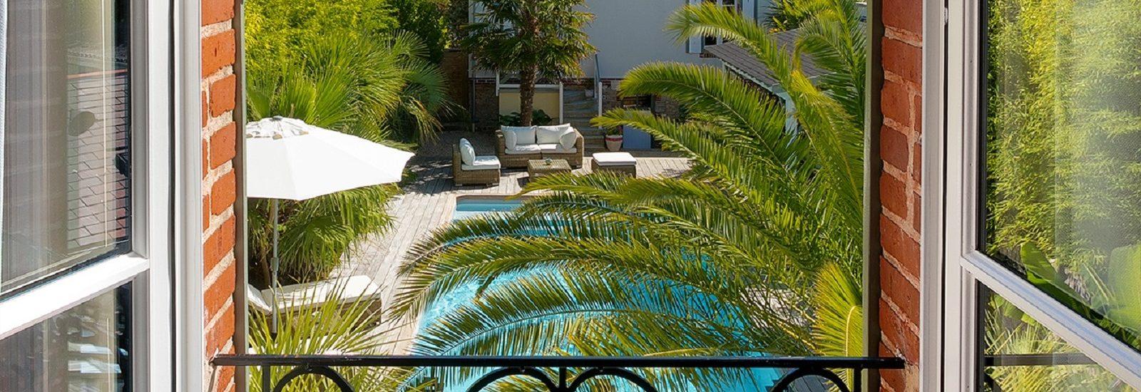 vue jardin villa la ruche la baule plage benoit chambre d'hôte haut de gamme sans enfant calme repos luxe